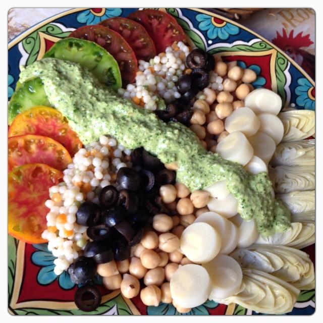 Cilantro Pepita Pesto Vinaigrette on a Garden Chop Salad. © The Queen V Kitchen 2013