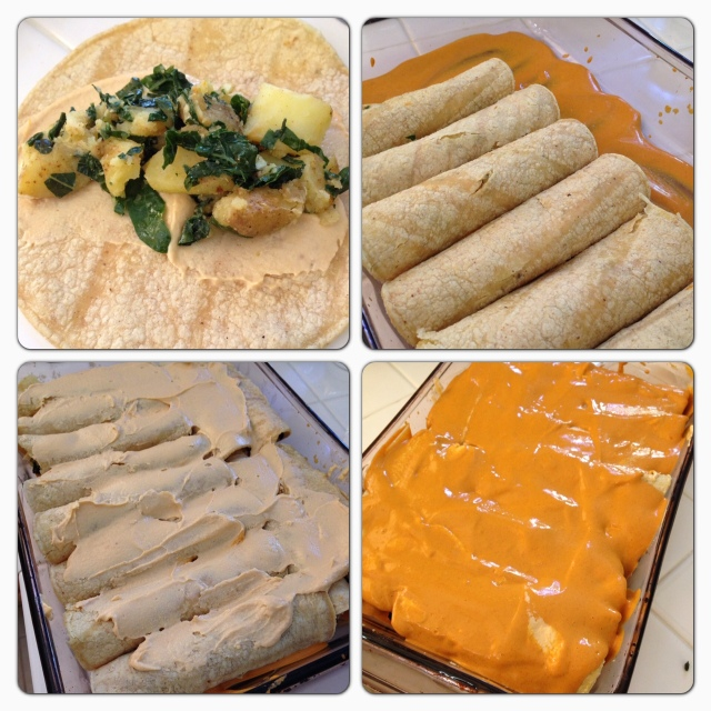 Cheesy Creamy Roasted Potato and Kale Enchiladas © The Queen V Kitchen 2013