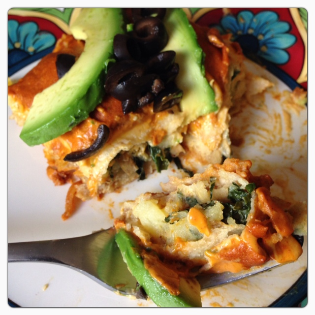 Cheesy Creamy Roasted Potato and Kale Enchiladas © The Queen V Kitchen